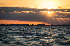Buenos Aires Cityscape Sunet. Sailing South America, Argentina. Royalty Free Stock Images