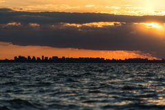 Buenos Aires Cityscape Sunet. Sailing South America, Argentina. Royalty Free Stock Photography