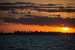 Buenos Aires Cityscape Sunet. Sailing South America, Argentina. Royalty Free Stock Photo