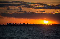 Buenos Aires Cityscape Sunet. Sailing South America, Argentina. Royalty Free Stock Photos