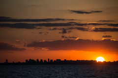 Buenos Aires Cityscape Sunet. Sailing South America, Argentina. Stock Photography