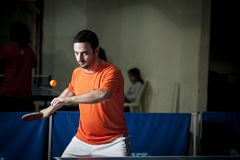 Ping pong player stock images