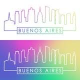 Buenos Aires horisont Färgrik linjär stil stock illustrationer
