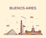 Buenos Aires horisont, linjär stad för Argentina vektor royaltyfri illustrationer