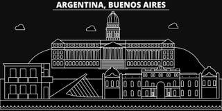 Buenos Aires konturhorisont Argentina - Buenos Aires vektorstad, argentinian linjär arkitektur, byggnader stock illustrationer