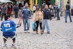 BUENOS AIRES, la ARGENTINA - MAYO, 9 2015 - boca idéntico del la de Maradona en pintó la casa en Buenos Aires imagen de archivo libre de regalías
