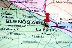 Buenos Aires on the map. Marked with a tack Stock Photography