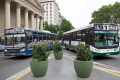 The Buenos Aires Metrobus, Argentina. It is a network of dedicated separeted lanes and station for normal buses that serve the city of Buenos Aires royalty free stock images