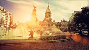 Buenos Aires, National Congress building. On a bright sunny day Royalty Free Stock Images