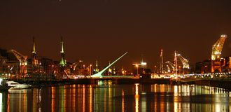 Buenos Aires by Night. Posh puerto madero neighbourhood brightly lit Stock Images