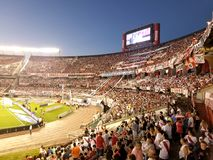 Buenos Aires, NOV 26, 2017: Monumental stadium. River Plate socc. Er fans. red, white and black Royalty Free Stock Image
