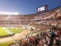 Buenos Aires, NOV 26, 2017: Monumental stadium. River Plate socc. Er fans. red, white and black Stock Photos