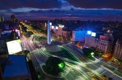 Buenos Aires på natten Fotografering för Bildbyråer