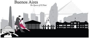 Buenos Aires pejzażu miejskiego linii horyzontu ilustracja Fotografia Royalty Free