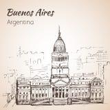 Buenos Aires Puerto Madero på natten arenaceous skissa På vitbac stock illustrationer