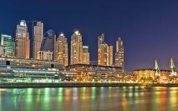 Buenos Aires, Puerto Madero przy nocą Zdjęcie Royalty Free