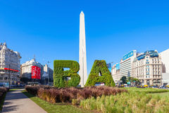 Buenos Aires sign and Obelisco. BUENOS AIRES, ARGENTINA - APRIL 14, 2016: Buenos Aires sign and Obelisco in Buenos Aires in Argentina. The Obelisk of Buenos stock photography