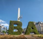 Buenos Aires Sign and Obelisk at Plaza de La Republica - Buenos Aires, Argentina stock image