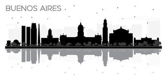 Buenos Aires skyline black and white silhouette with reflections Stock Photo