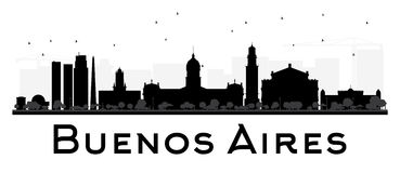 Buenos Aires skyline black and white silhouette. Royalty Free Stock Photography