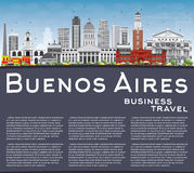 Buenos Aires Skyline with Color Landmarks, Blue Sky and Copy Spa Royalty Free Stock Images