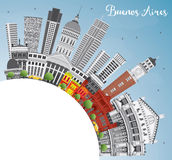 Buenos Aires Skyline with Color Landmarks, Blue Sky and Copy Spa Royalty Free Stock Photo