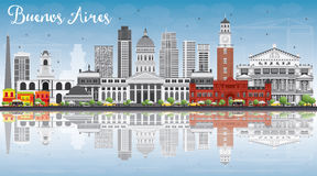 Buenos Aires Skyline with Color Landmarks, Blue Sky and Reflecti Stock Image