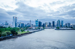 Buenos Aires skyline at dusk. BUENOS AIRES, ARGENTINA FEBRUARY 5, 2017 View of city skyline at dusk from a cruise ship leaving the port Stock Photography