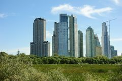 Buenos Aires skyline and park royalty free stock photos