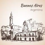 Buenos Aires stadsgata och fyrkant arenaceous skissa stock illustrationer