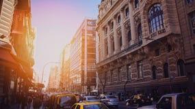 Buenos Aires sur un coucher du soleil Images stock