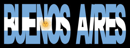 Buenos Aires text with flag Royalty Free Stock Images