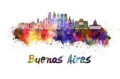 Buenos Aires V2 horisont i vattenfärg royaltyfri illustrationer