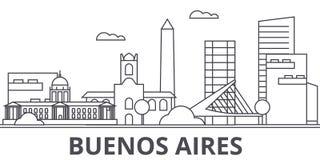Buenos Airos architektury linii linii horyzontu ilustracja Liniowy pejzaż miejski z sławnymi punktami zwrotnymi, miasto widoki, p Fotografia Stock