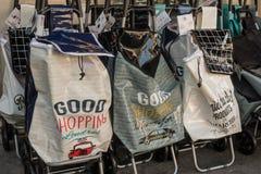 Buenos bolsos lindos del whith que hacen compras Imagen de archivo