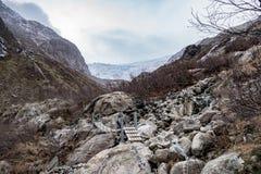 Buerbreen glacier suspension bridge hiking. Ice royalty free stock photos