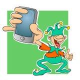 Bufón de la corte con un teléfono ilustración del vector