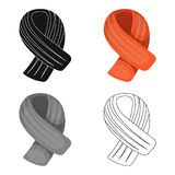 Bufanda anaranjada del invierno para las mujeres y los hombres Las bufandas y los mantones escogen el icono en el ejemplo de la a Foto de archivo libre de regalías