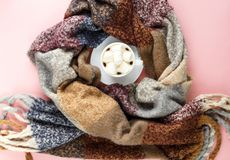 Bufanda caliente, acogedora del invierno y taza de café blanca con la melcocha blanca como marco en fondo rosado en colores paste fotografía de archivo libre de regalías