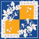 Bufanda de seda con el flor de la manzana Modelo inconsútil abstracto del vector con los elementos florales dibujados mano imagen de archivo libre de regalías