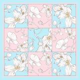 Bufanda de seda con el flor de la manzana Modelo inconsútil abstracto del vector con los elementos florales dibujados mano imagenes de archivo
