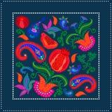 Bufanda de seda con los paisleys y las flores florecientes libre illustration