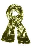 Bufanda de seda Bufanda de seda negra aislada en el fondo blanco Fotos de archivo