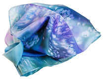Bufanda de seda pintada por el batik azul aislada Fotos de archivo