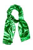 Bufanda de seda Bufanda de seda verde aislada en el fondo blanco Fotografía de archivo