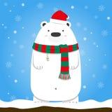 Bufanda del sombrero de Papá Noel del desgaste del oso polar de la Feliz Navidad Foto de archivo libre de regalías
