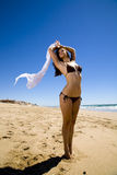 Bufanda en la playa Imagen de archivo libre de regalías