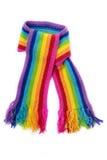 Bufanda hecha punto arco iris brillante imágenes de archivo libres de regalías