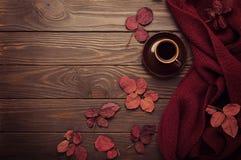 Bufanda hecha punto del color de Borgoña con hojas de otoño y una taza de Imagen de archivo libre de regalías