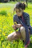 Bufanda joven de la bandera americana del girlwith Foto de archivo